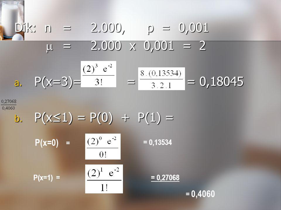 Dik: n = 2.000, p = 0,001  = 2.000 x 0,001 = 2 P(x=3)= = = 0,18045
