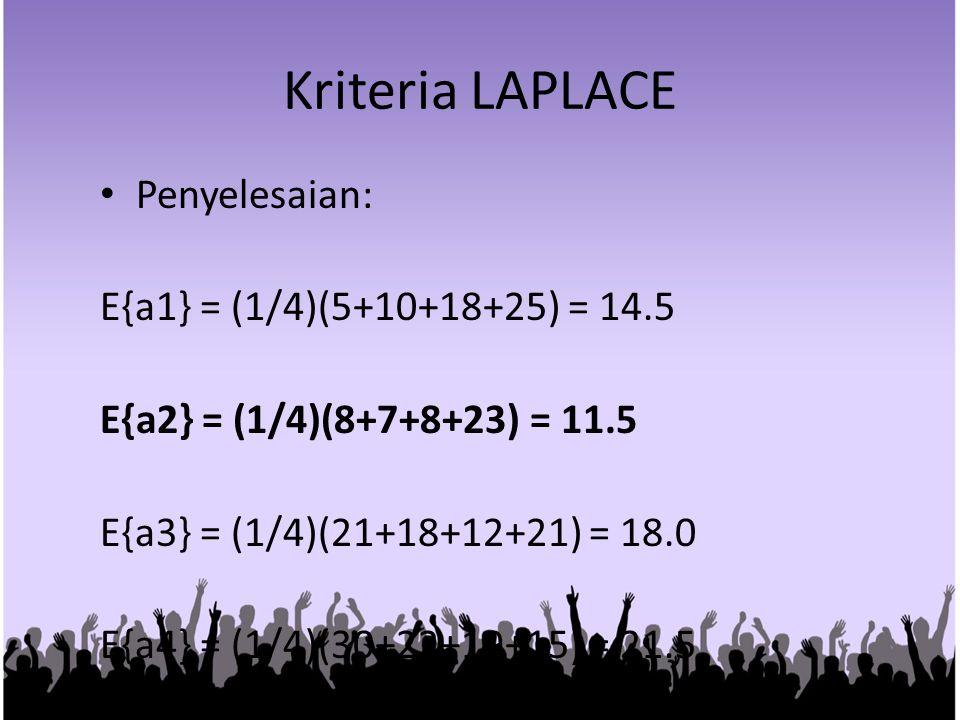 Kriteria LAPLACE Penyelesaian: E{a1} = (1/4)(5+10+18+25) = 14.5