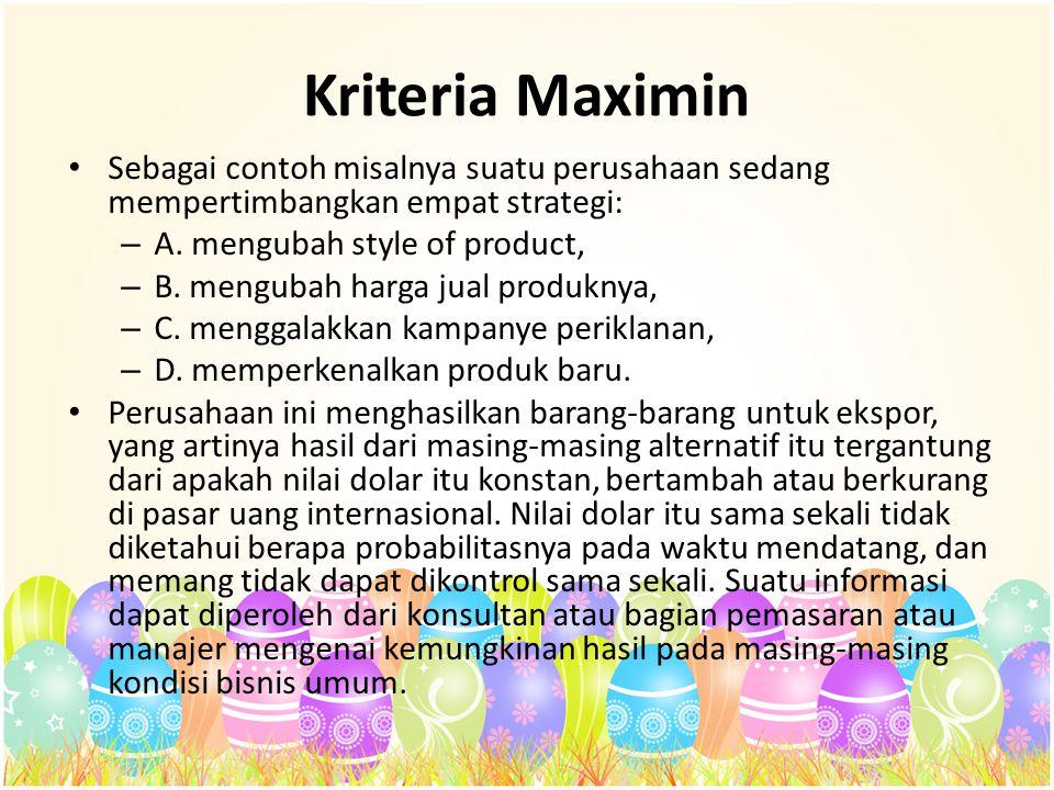 Kriteria Maximin Sebagai contoh misalnya suatu perusahaan sedang mempertimbangkan empat strategi: A. mengubah style of product,