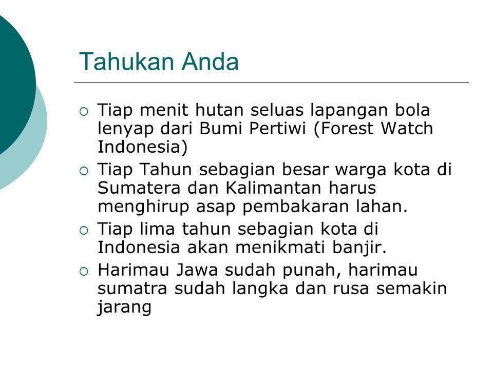 Tahukan Anda Tiap menit hutan seluas lapangan bola lenyap dari Bumi Pertiwi (Forest Watch Indonesia)