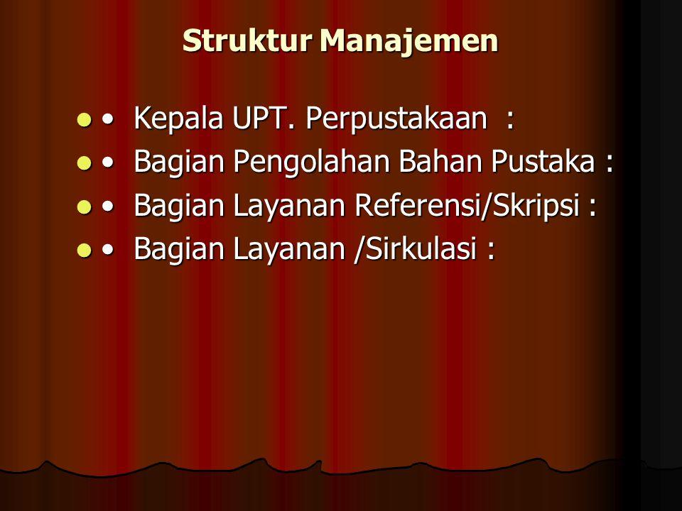 Struktur Manajemen • Kepala UPT. Perpustakaan : • Bagian Pengolahan Bahan Pustaka : • Bagian Layanan Referensi/Skripsi :