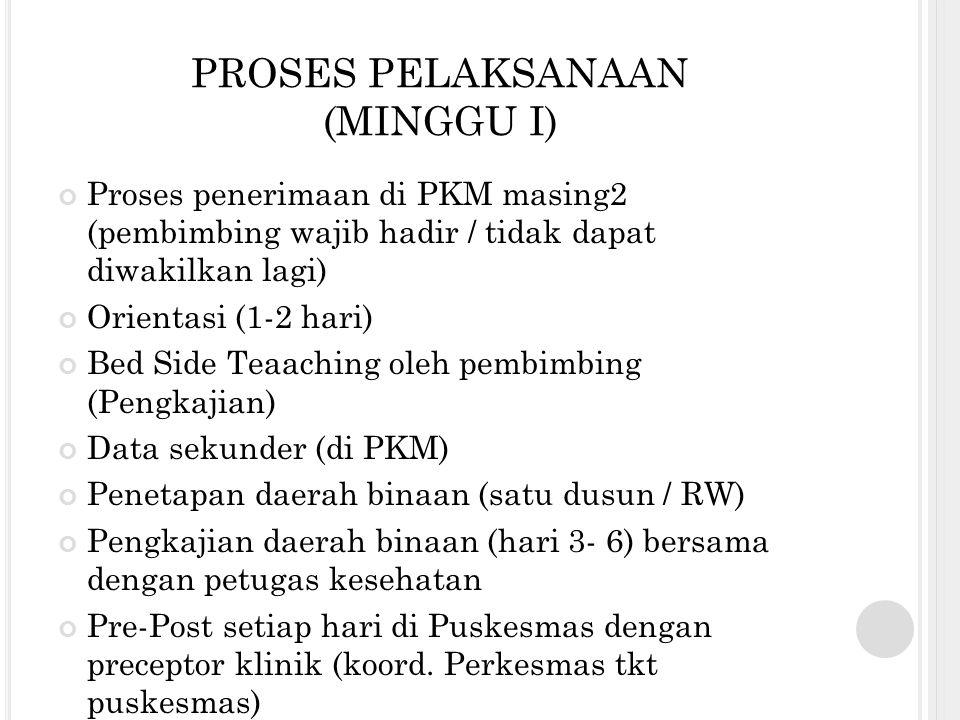PROSES PELAKSANAAN (MINGGU I)