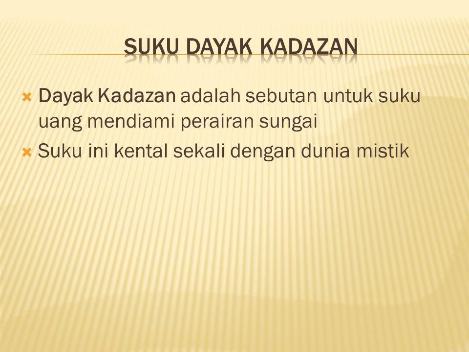suku dayak kadazan Dayak Kadazan adalah sebutan untuk suku uang mendiami perairan sungai.