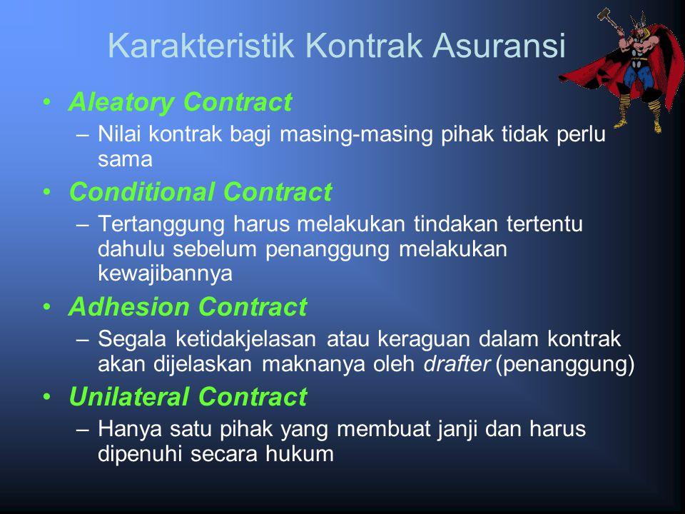 Karakteristik Kontrak Asuransi