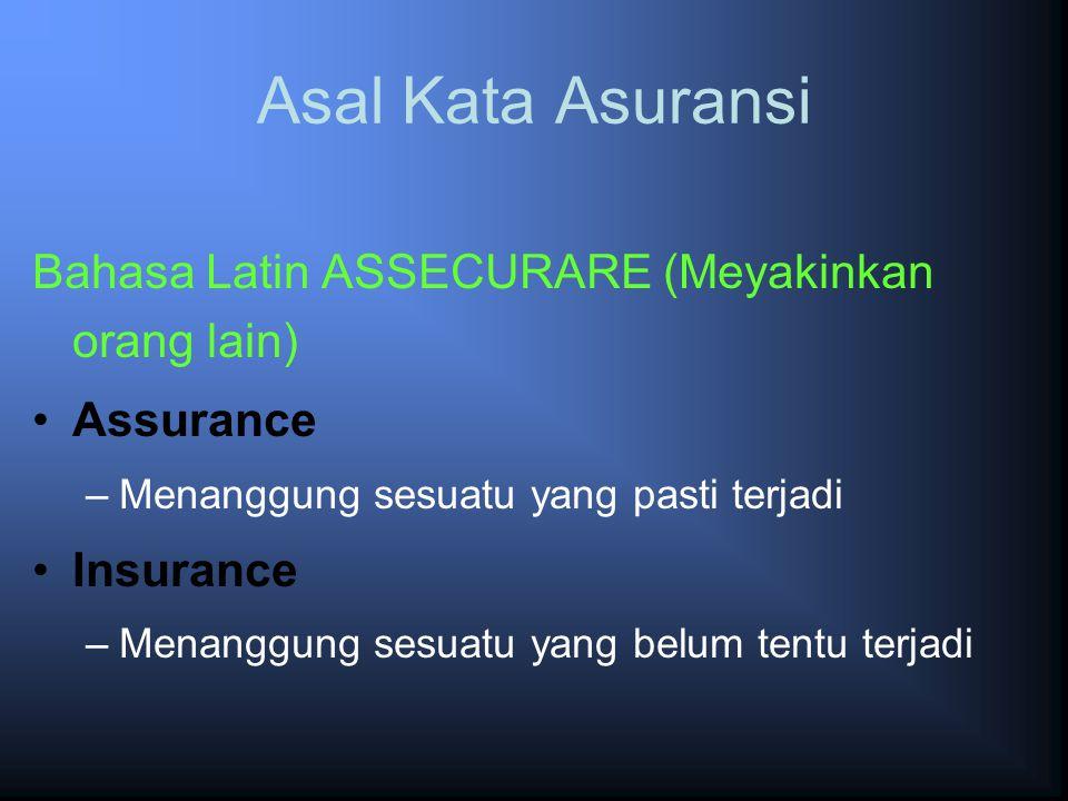 Asal Kata Asuransi Bahasa Latin ASSECURARE (Meyakinkan orang lain)