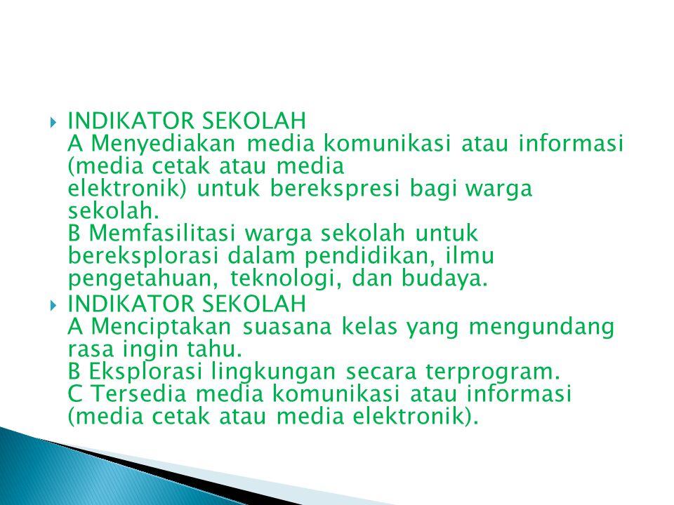 INDIKATOR SEKOLAH A Menyediakan media komunikasi atau informasi (media cetak atau media elektronik) untuk berekspresi bagi warga sekolah. B Memfasilitasi warga sekolah untuk bereksplorasi dalam pendidikan, ilmu pengetahuan, teknologi, dan budaya.