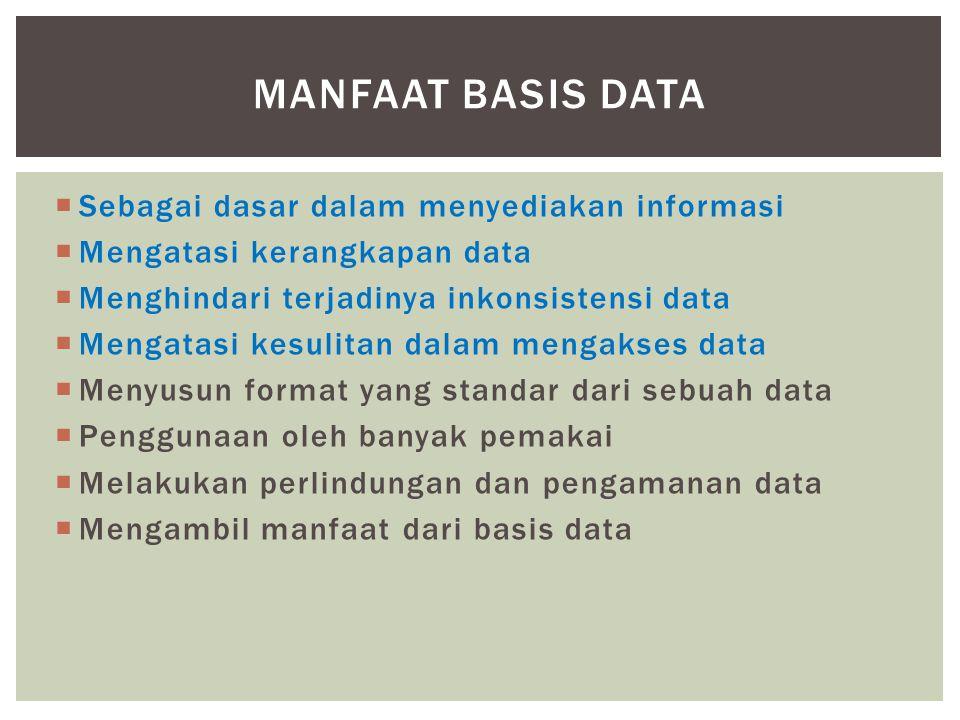 Manfaat basis data Sebagai dasar dalam menyediakan informasi