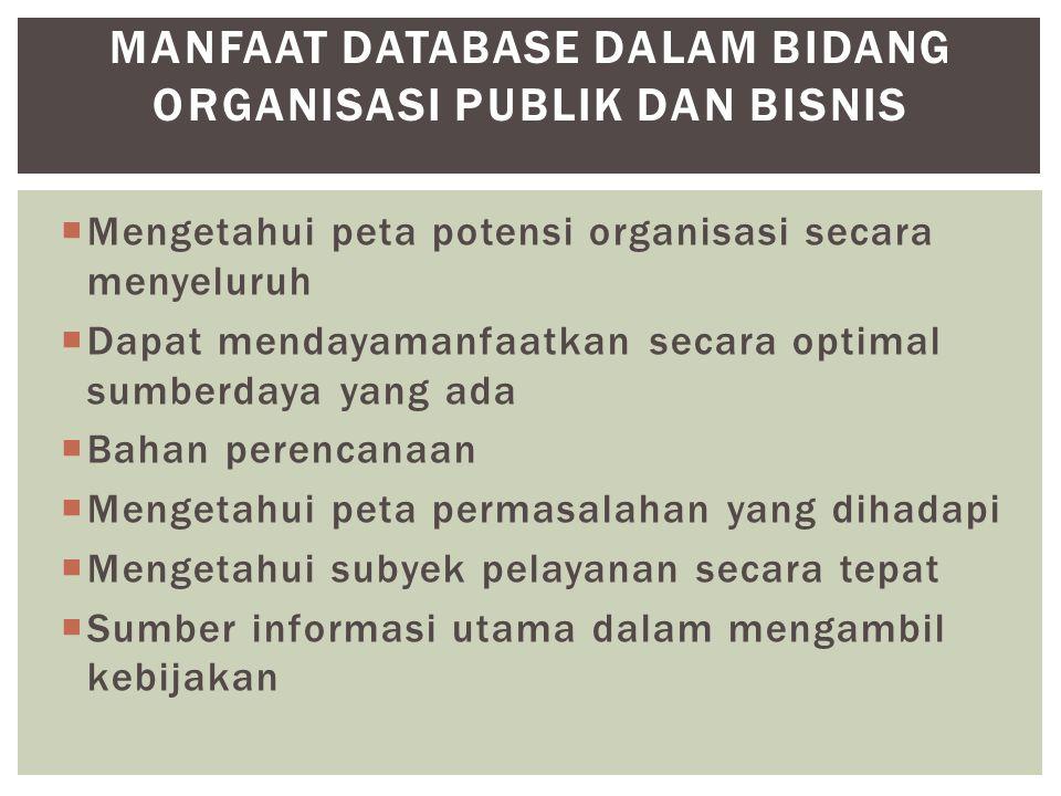 Manfaat Database dalam Bidang organisasi publik dan Bisnis