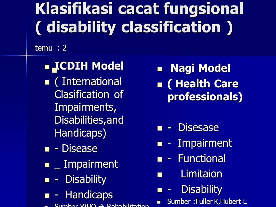 Klasifikasi cacat fungsional ( disability classification ) temu : 2
