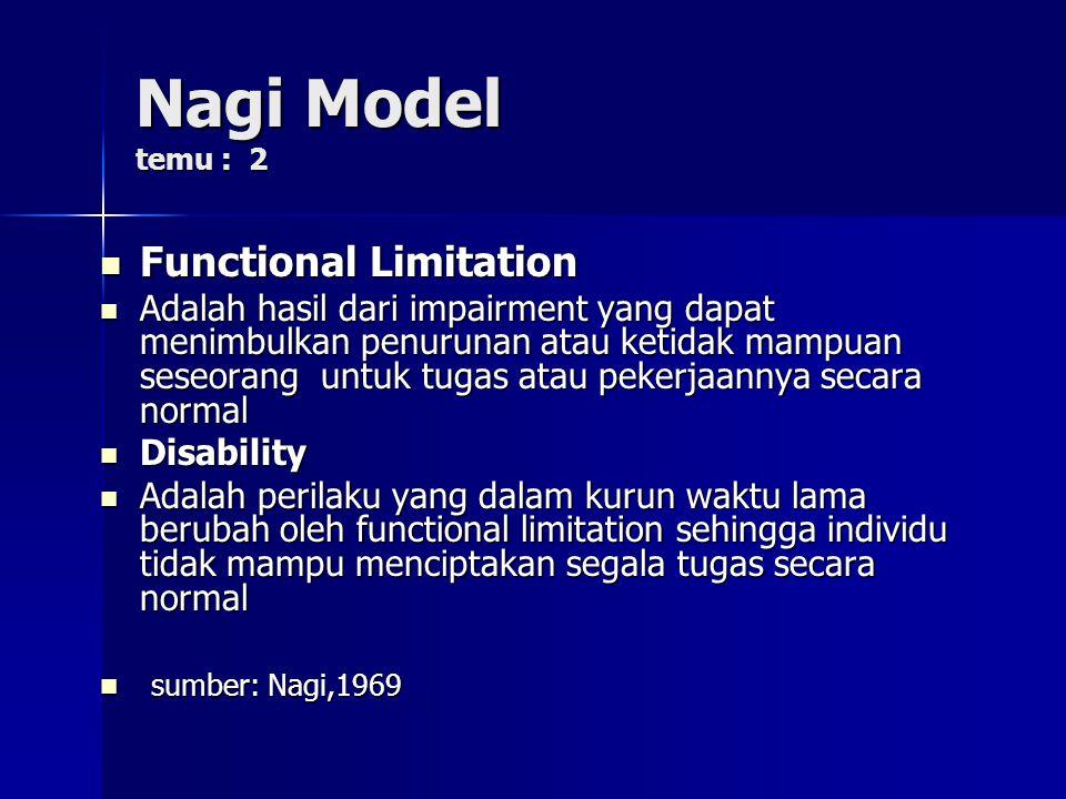 Nagi Model temu : 2 Functional Limitation