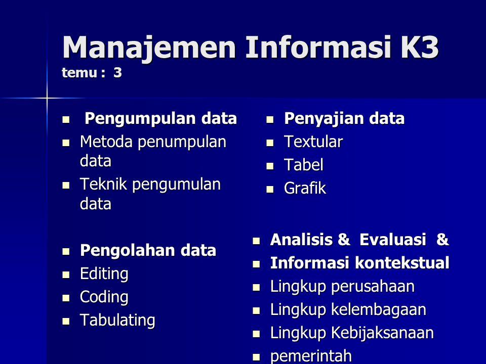 Manajemen Informasi K3 temu : 3