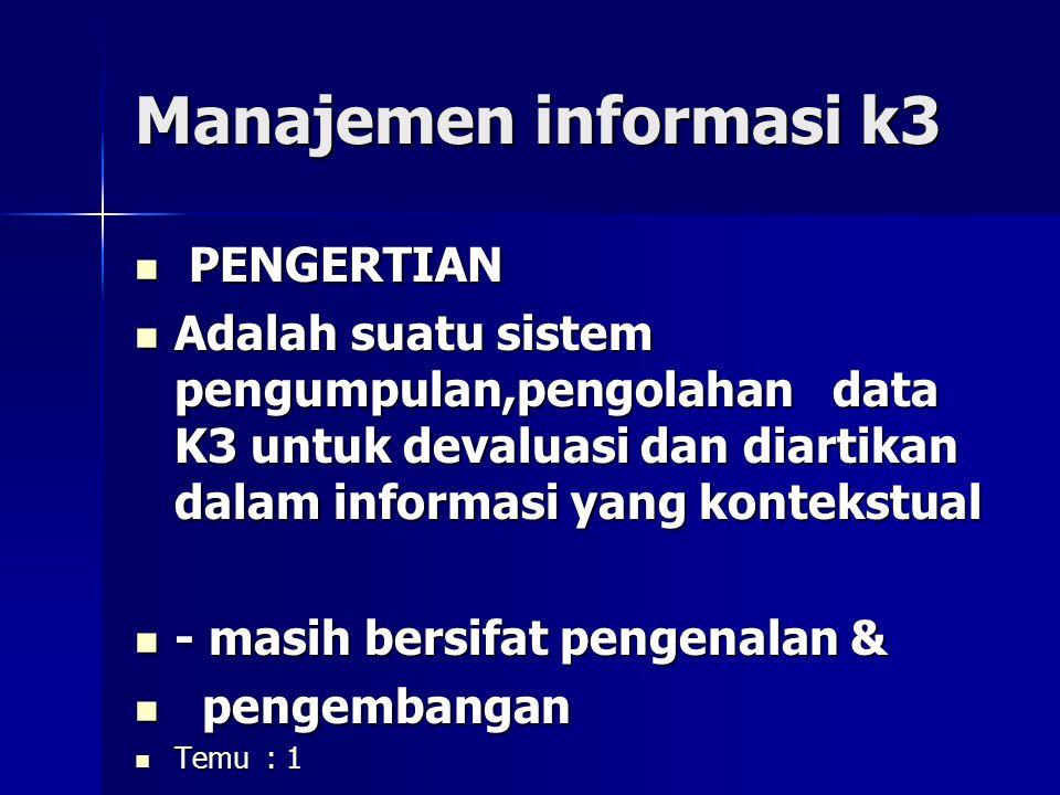 Manajemen informasi k3 PENGERTIAN