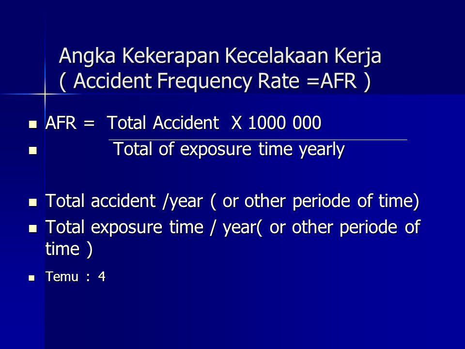 Angka Kekerapan Kecelakaan Kerja ( Accident Frequency Rate =AFR )