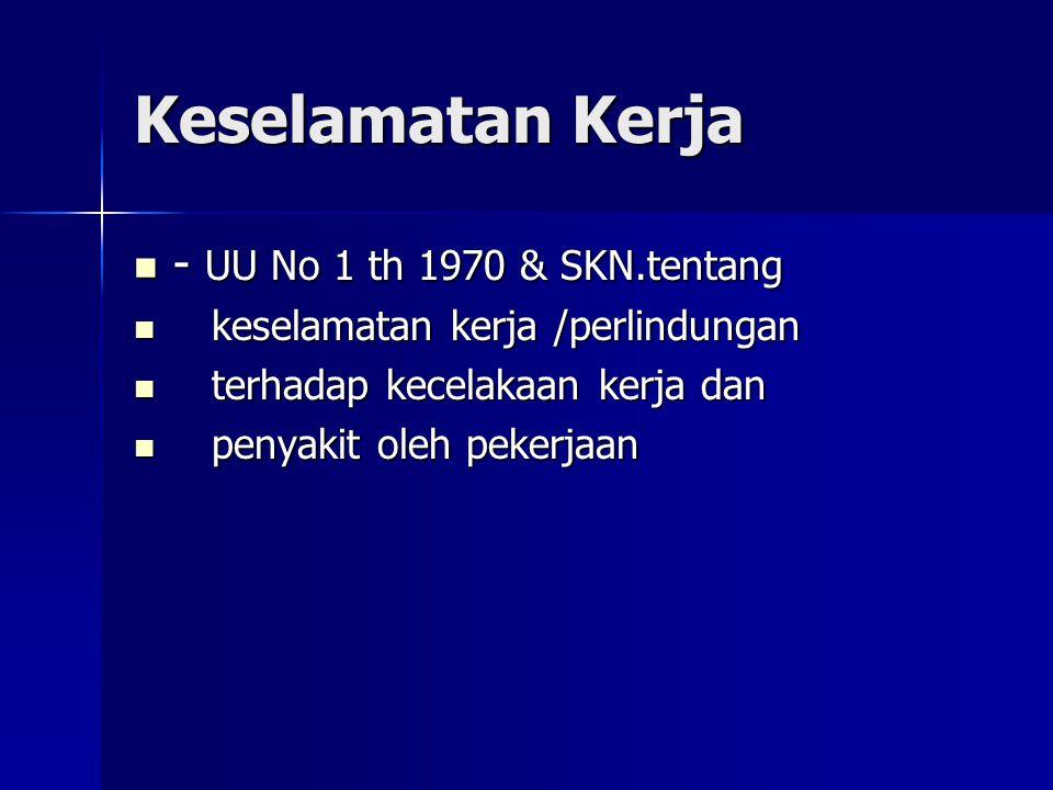 Keselamatan Kerja - UU No 1 th 1970 & SKN.tentang