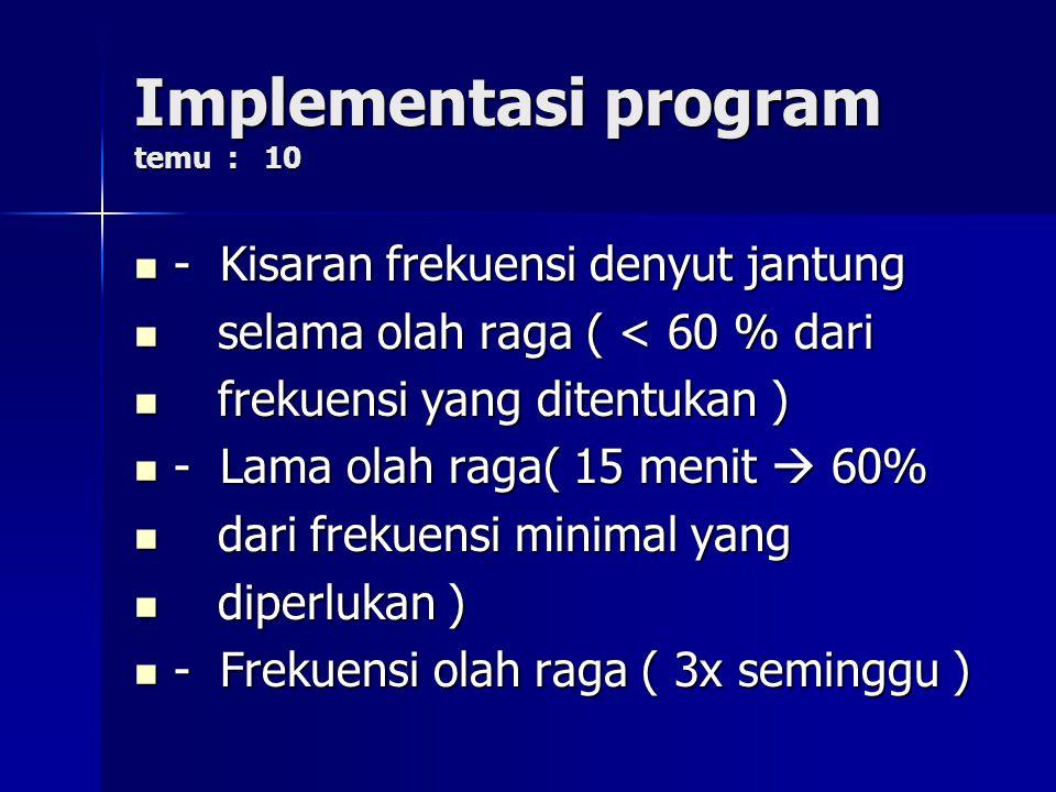 Implementasi program temu : 10
