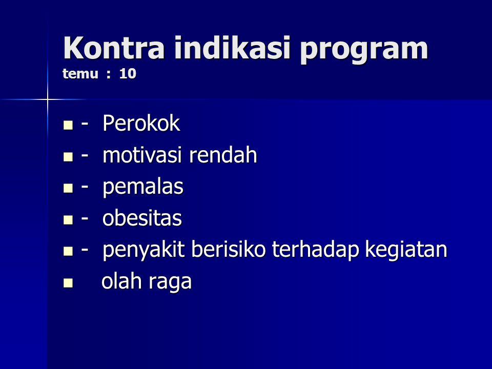 Kontra indikasi program temu : 10