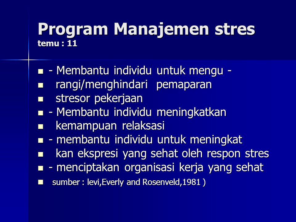 Program Manajemen stres temu : 11
