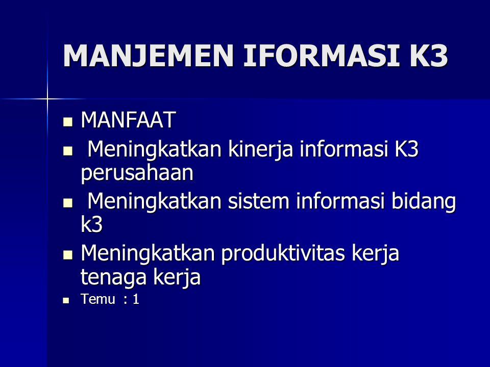 MANJEMEN IFORMASI K3 MANFAAT