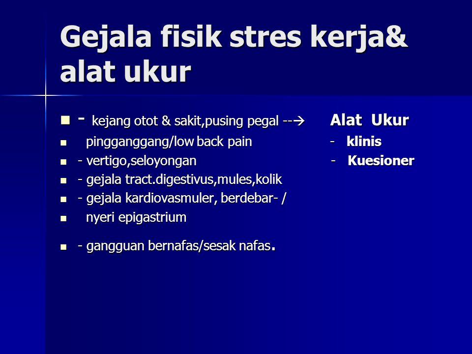 Gejala fisik stres kerja& alat ukur