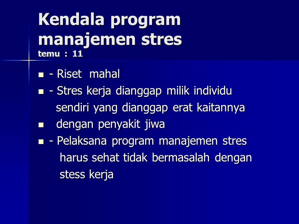 Kendala program manajemen stres temu : 11
