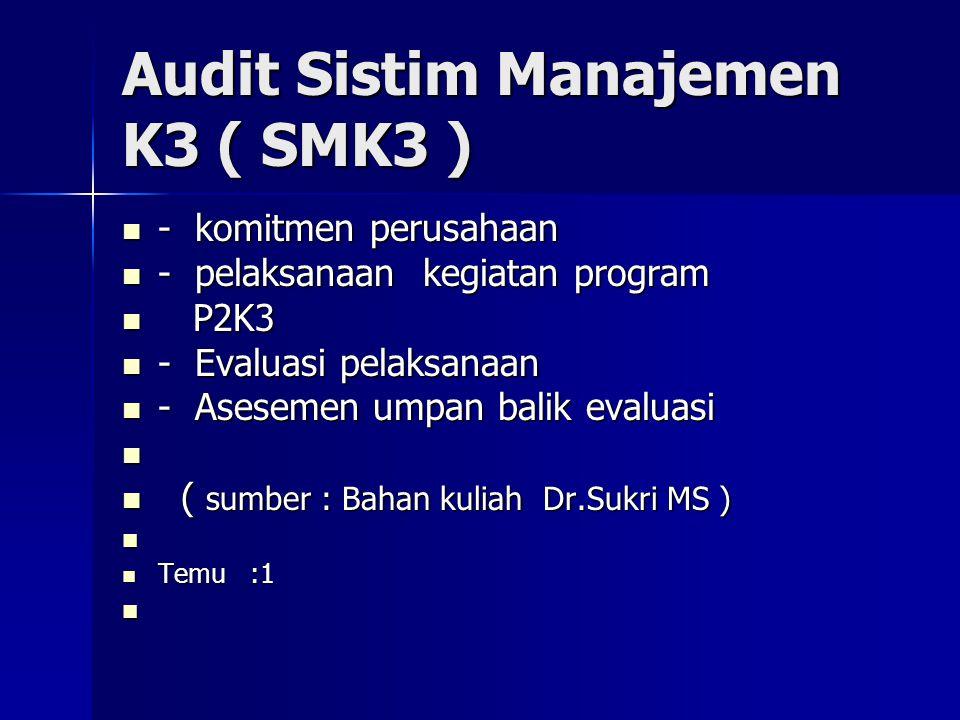 Audit Sistim Manajemen K3 ( SMK3 )