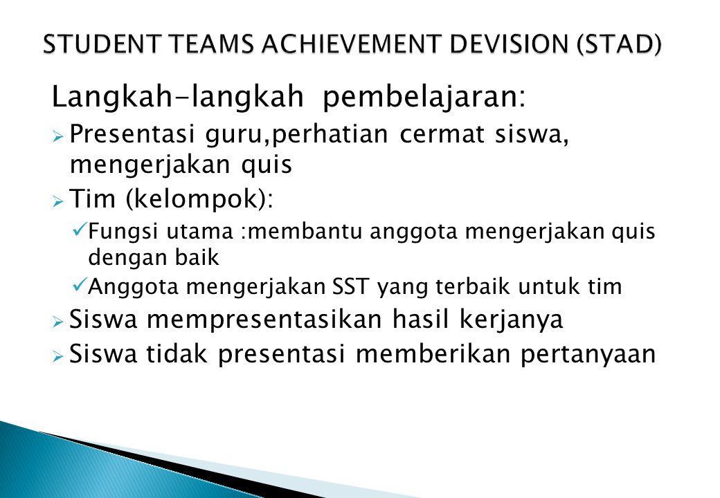 STUDENT TEAMS ACHIEVEMENT DEVISION (STAD)