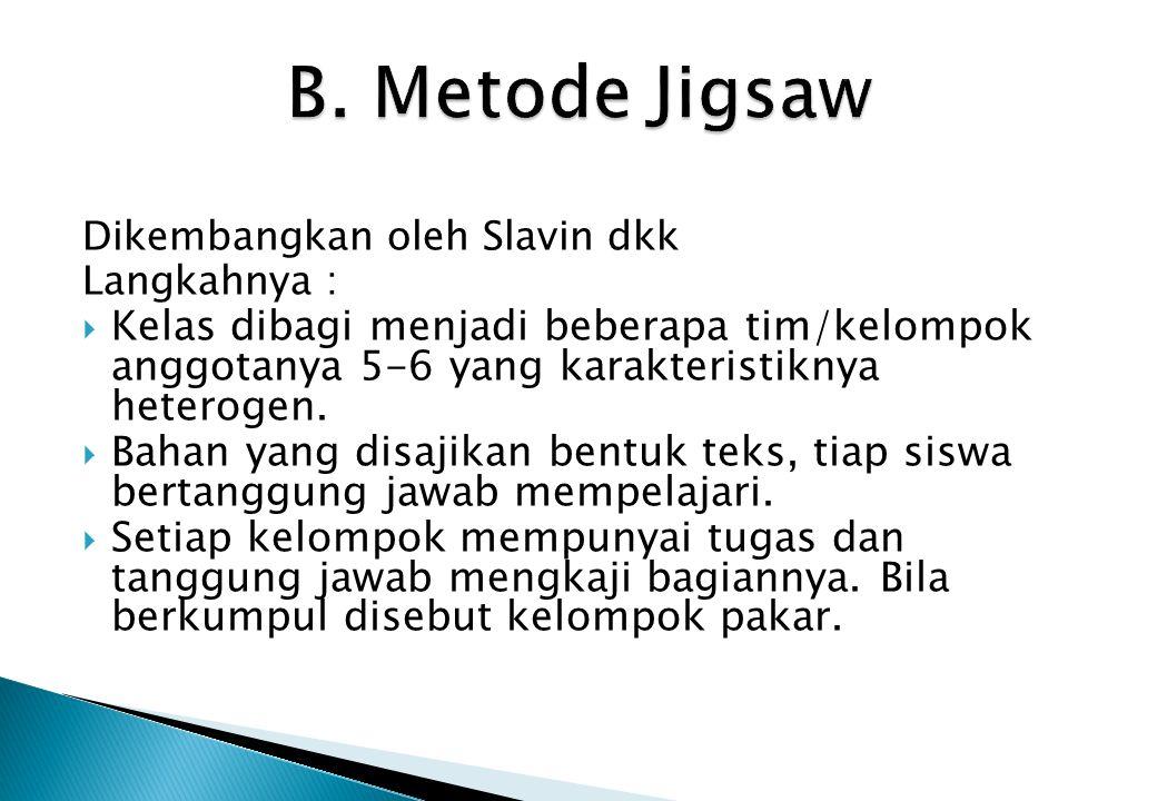 B. Metode Jigsaw Dikembangkan oleh Slavin dkk. Langkahnya :