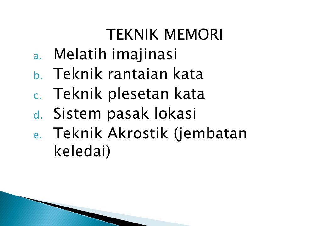 TEKNIK MEMORI Melatih imajinasi. Teknik rantaian kata. Teknik plesetan kata. Sistem pasak lokasi.