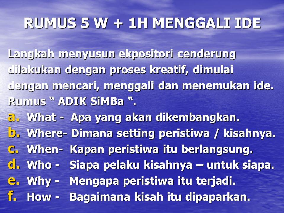 RUMUS 5 W + 1H MENGGALI IDE Langkah menyusun ekpositori cenderung