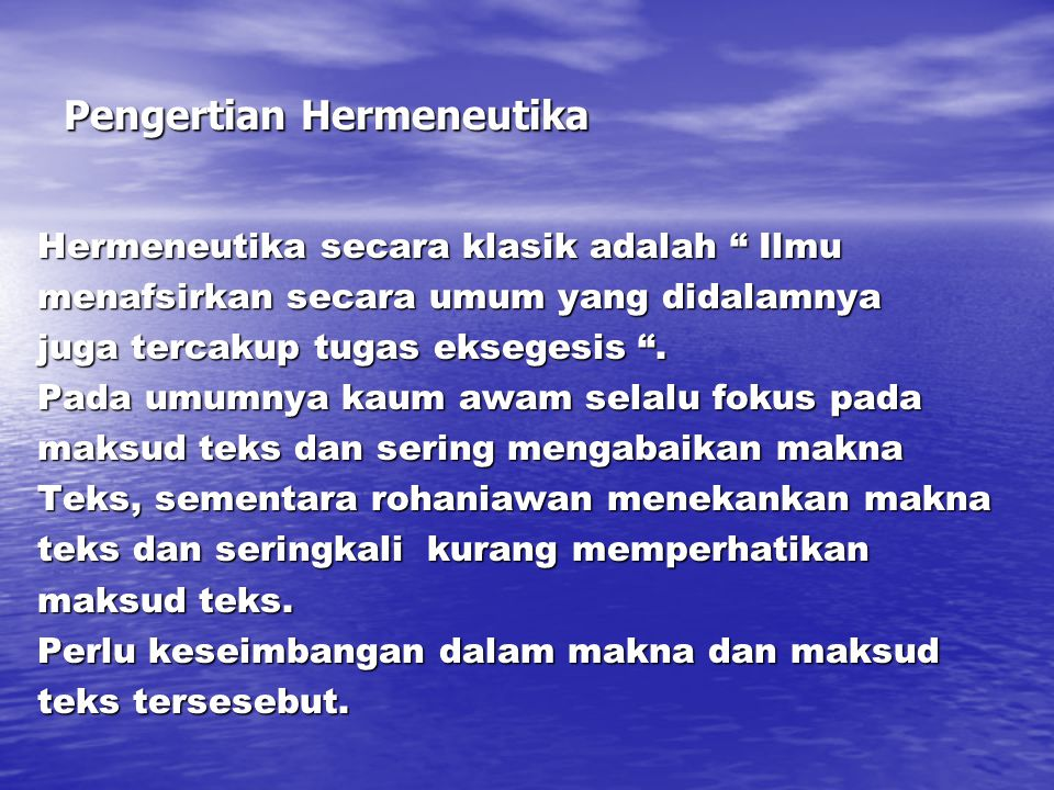 Pengertian Hermeneutika