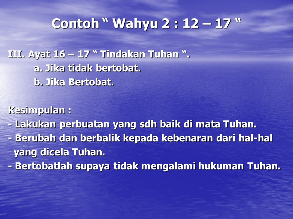 Contoh Wahyu 2 : 12 – 17