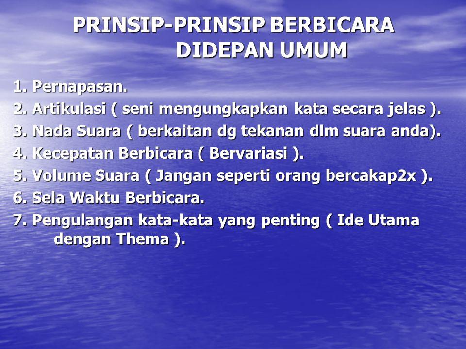PRINSIP-PRINSIP BERBICARA DIDEPAN UMUM