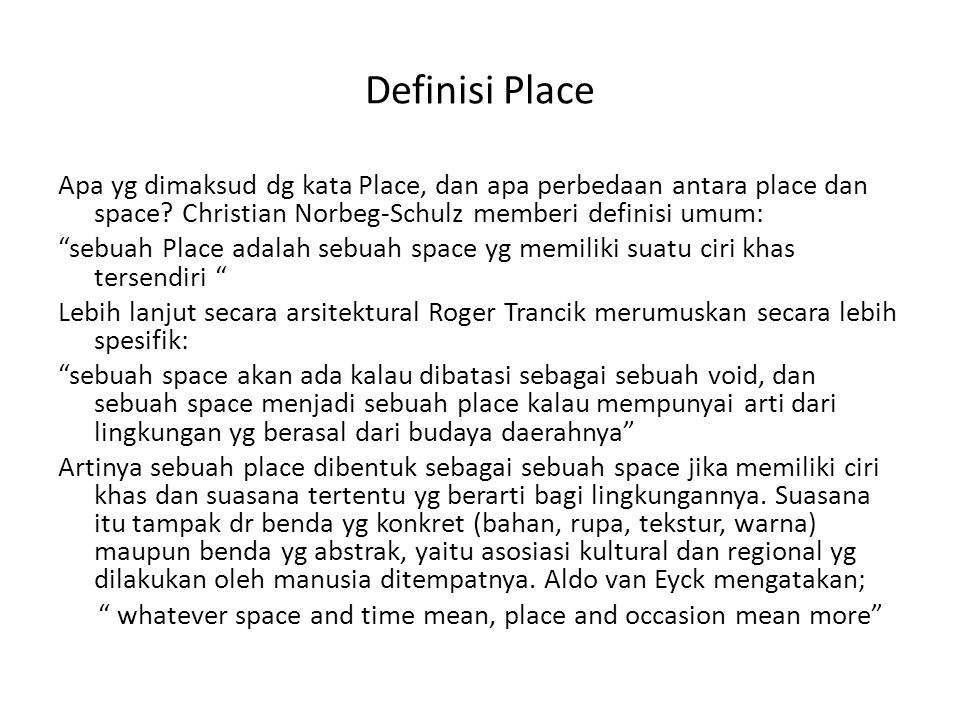 Definisi Place