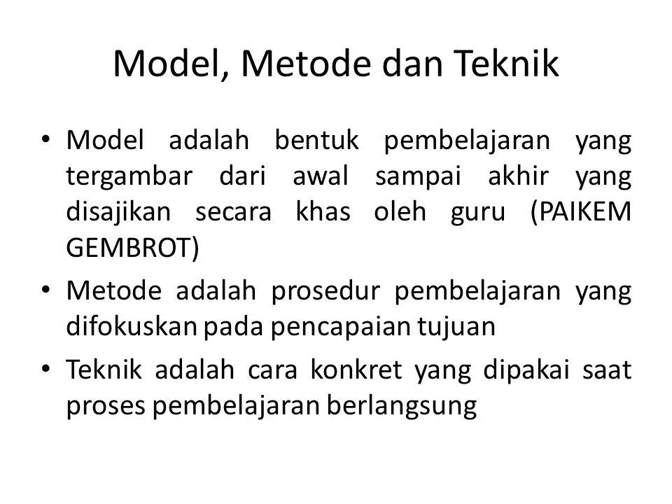Model, Metode dan Teknik
