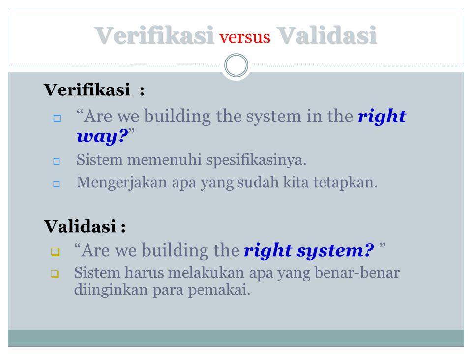 Verifikasi versus Validasi
