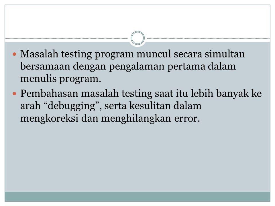 Masalah testing program muncul secara simultan bersamaan dengan pengalaman pertama dalam menulis program.