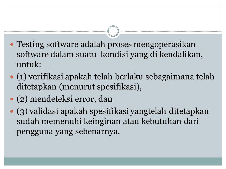 Testing software adalah proses mengoperasikan software dalam suatu kondisi yang di kendalikan, untuk: