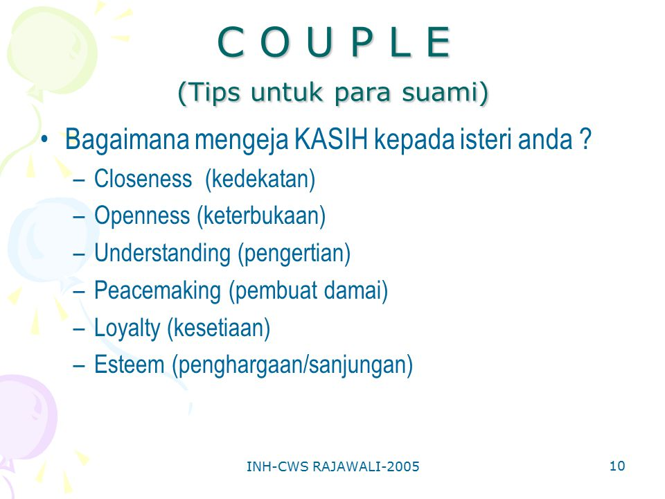 C O U P L E (Tips untuk para suami)