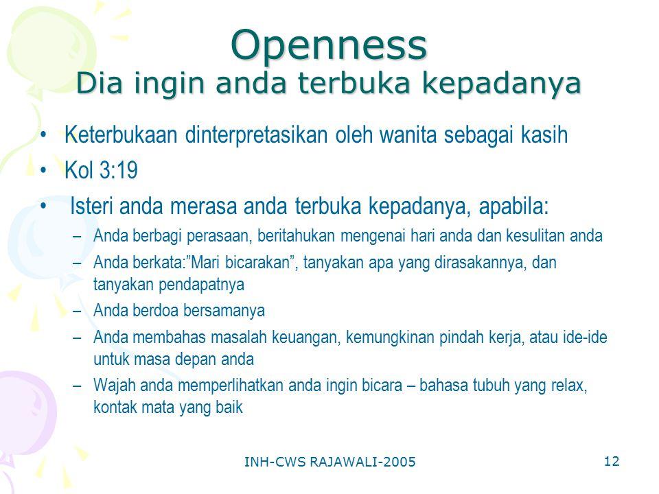 Openness Dia ingin anda terbuka kepadanya