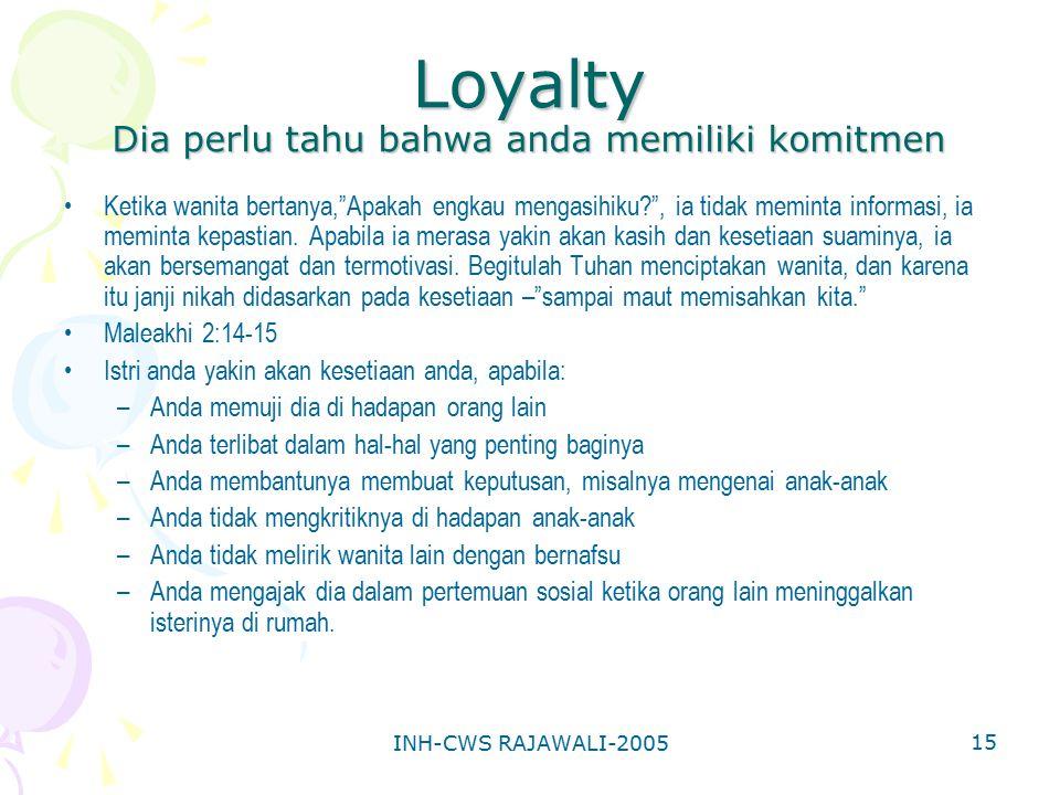 Loyalty Dia perlu tahu bahwa anda memiliki komitmen