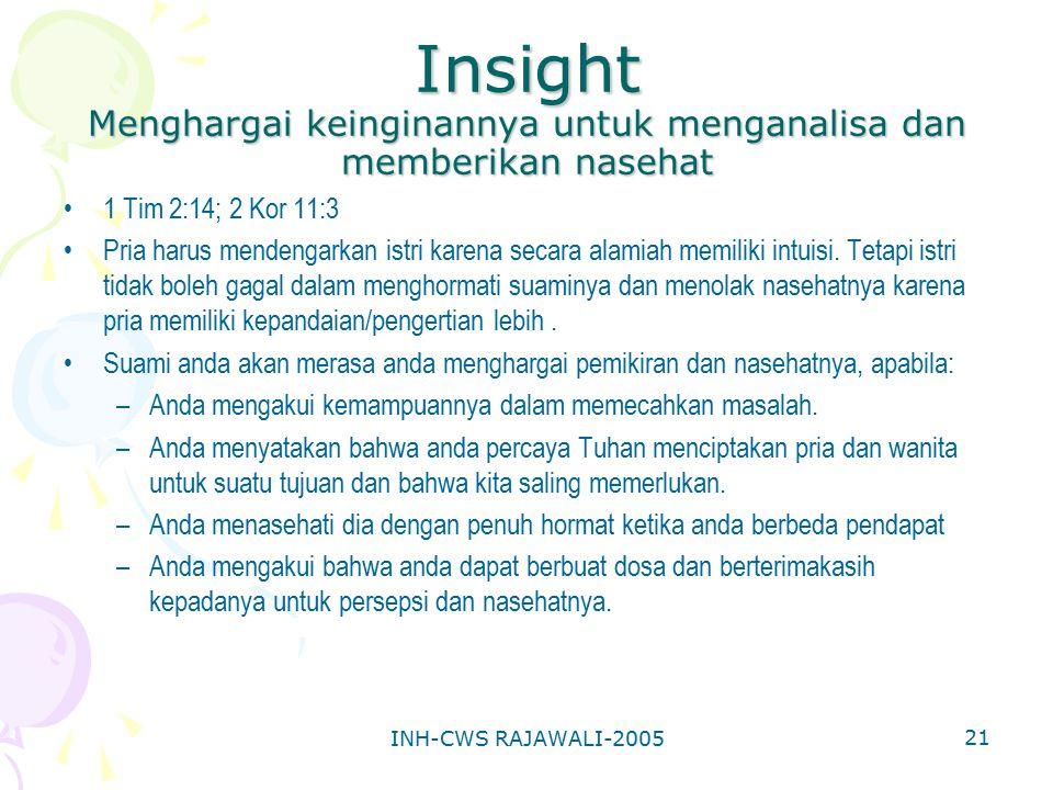Insight Menghargai keinginannya untuk menganalisa dan memberikan nasehat