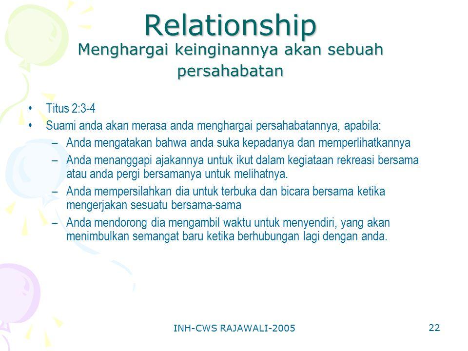 Relationship Menghargai keinginannya akan sebuah persahabatan