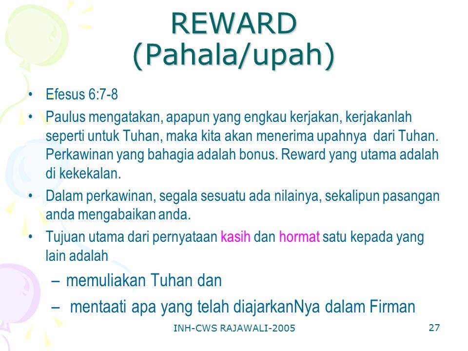 REWARD (Pahala/upah) memuliakan Tuhan dan
