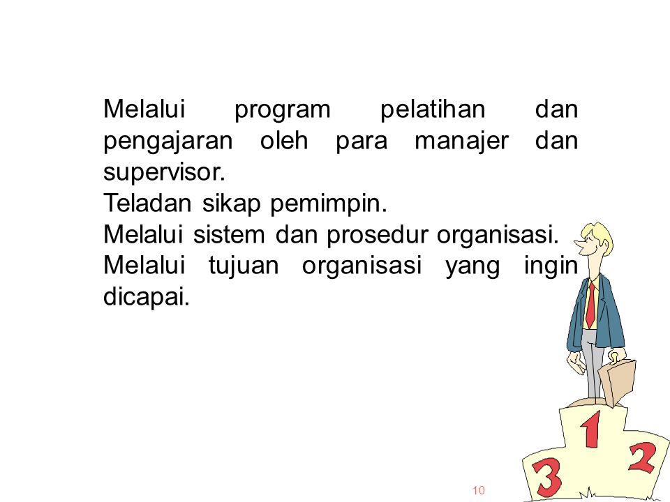 Melalui program pelatihan dan pengajaran oleh para manajer dan supervisor.