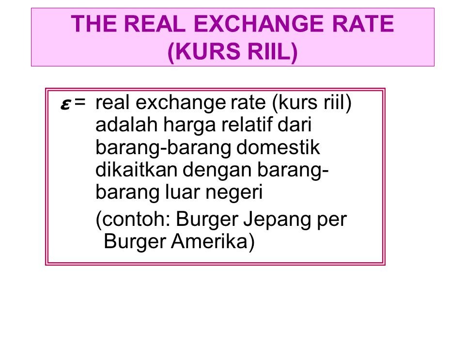 THE REAL EXCHANGE RATE (KURS RIIL)