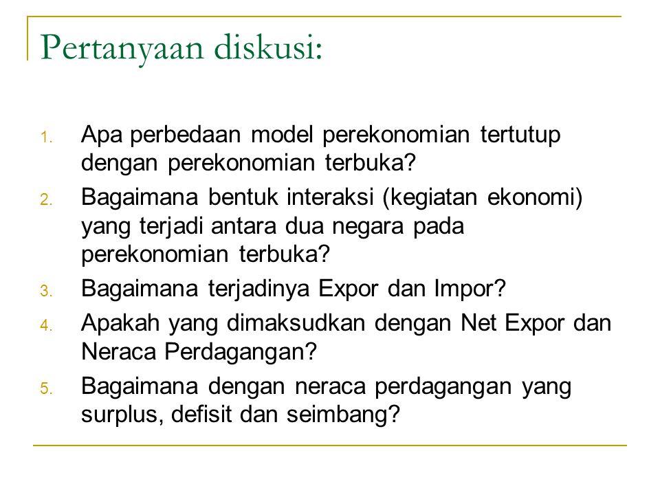 Pertanyaan diskusi: Apa perbedaan model perekonomian tertutup dengan perekonomian terbuka