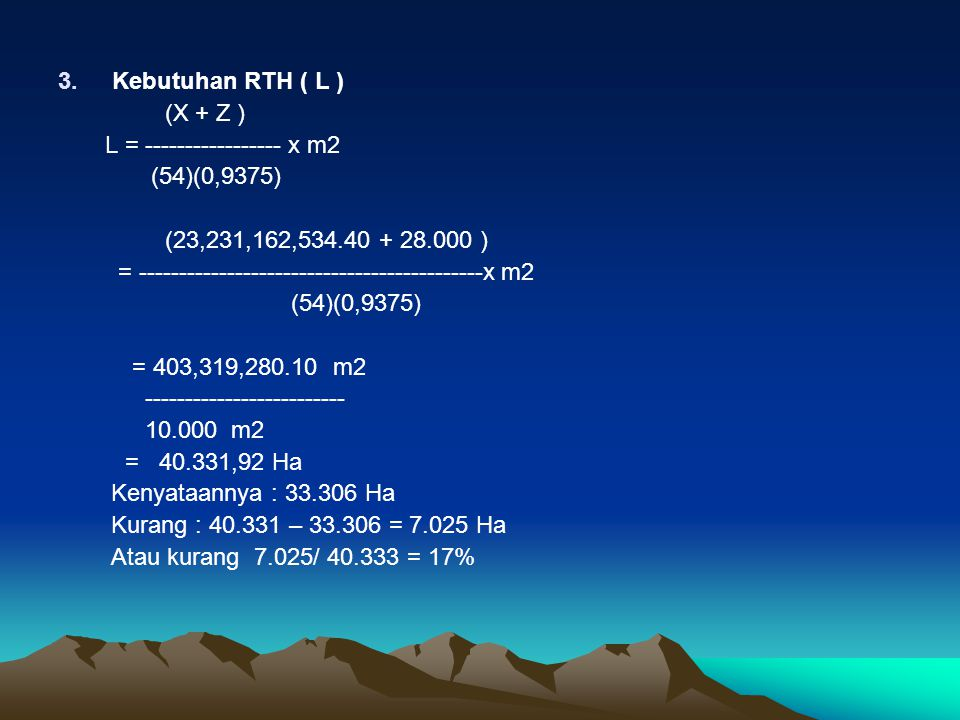 Kebutuhan RTH ( L ) (X + Z ) L = ----------------- x m2. (54)(0,9375) (23,231,162,534.40 + 28.000 )