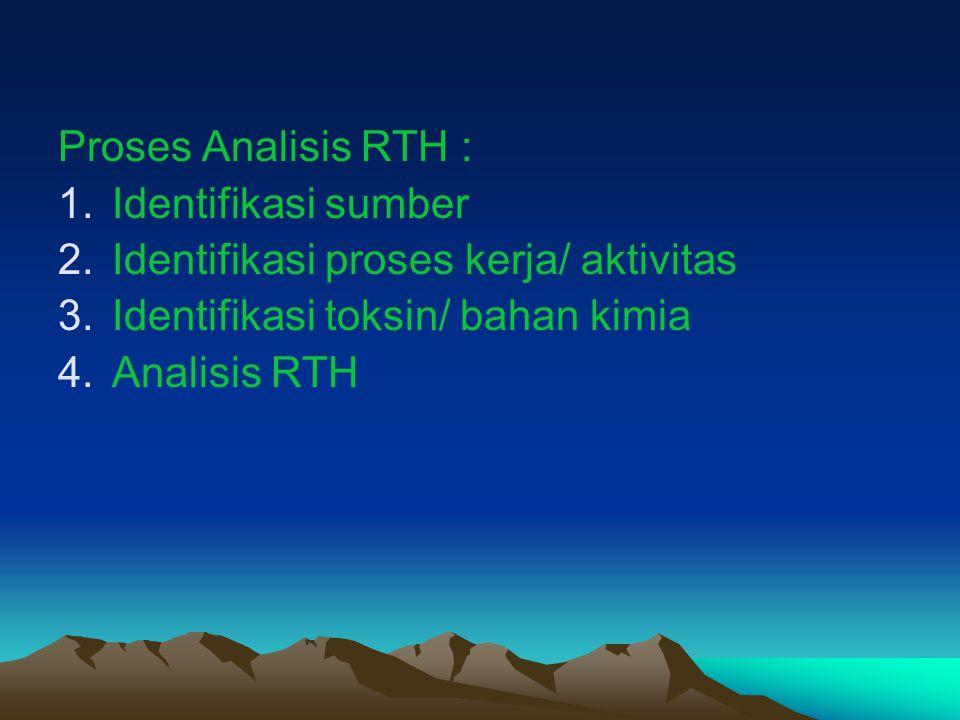 Proses Analisis RTH : Identifikasi sumber. Identifikasi proses kerja/ aktivitas. Identifikasi toksin/ bahan kimia.