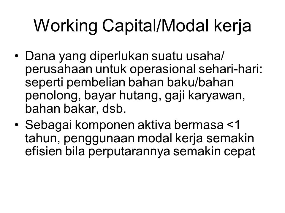 Working Capital/Modal kerja