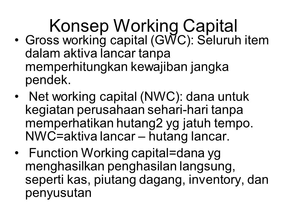 Konsep Working Capital